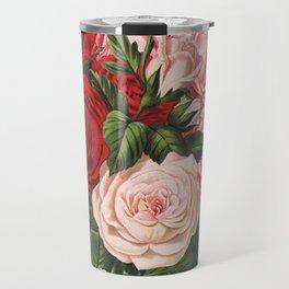 Vintage crimson red and pink roses garden on dark royal green Travel Mug