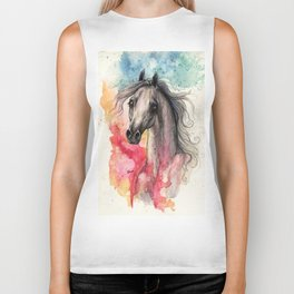 araian horse on rainbow background Biker Tank