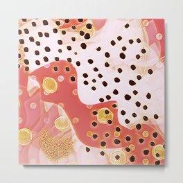 pink coral gold brown abstract digital painting Metal Print