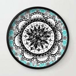 Teal and Black Mandala Pattern Wall Clock