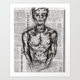 Strategy - Charcoal on Newspaper Figure Drawing Art Print