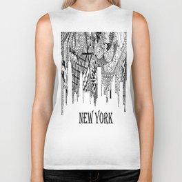 Zentangled New York Skyline Biker Tank