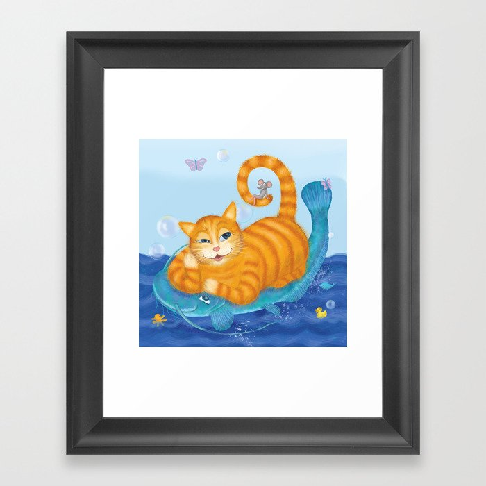 Orange tabby cat & blue catfish  Funny kids illustration Framed Art Print