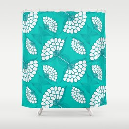 African Floral Motif on Turquoise Shower Curtain