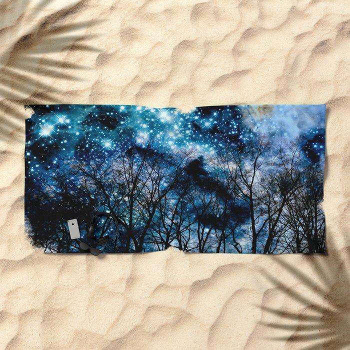 Black Trees Teal Beige Space Beach Towel