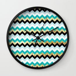 Black, Teal, and Gold Chevron Pattern Wall Clock