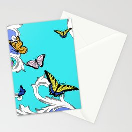 BUTTERFLIES IN FLIGHT PATTERN by gail sarasohn Stationery Cards