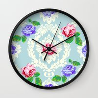 shabby chic Wall Clocks featuring Shabby Chic Rose Pattern by Figen Topbas
