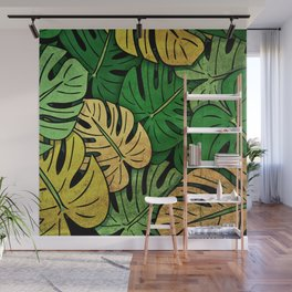 Grunge Monstera Leaves Wall Mural