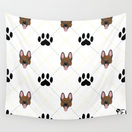 German Shepherd Paw Print Pattern Wall Tapestry