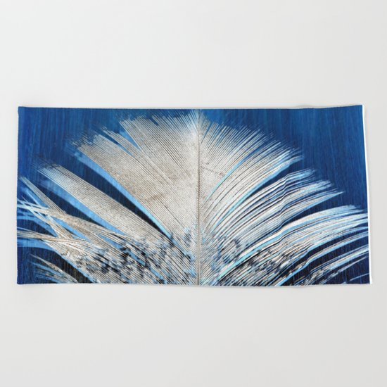 Feather | Feathers | Spiritual | White and Blue Feather | Nature Beach Towel