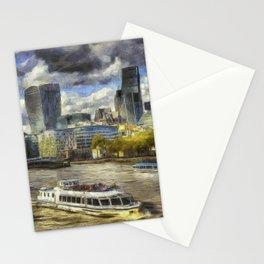 The River Thames And City Art Stationery Cards