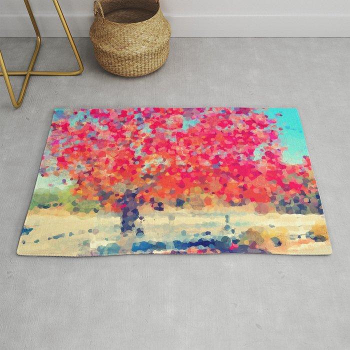 Orange Tree Watercolor digital Rug