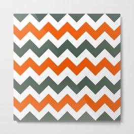 Chevron Pattern In Russet Orange Grey and White Metal Print