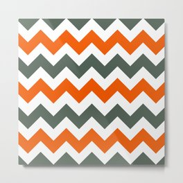 Chevron Pattern In Russet Orange Grey and White Metal Print