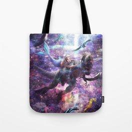 Cute Funny Mermaid Riding Dinosaur Tote Bag
