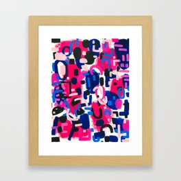 Magenta Blue Abstract Acrylic Painting Kusama Primitive Shapes Framed Art Print