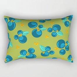 Blueberries | Green Rectangular Pillow