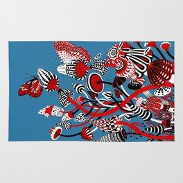 Magic Mushroom Red black blue Rug