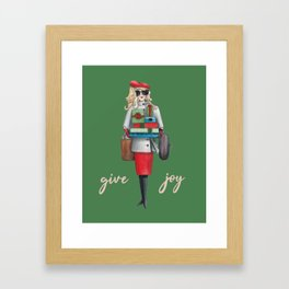 Give Joy for the holidays watercolor Framed Art Print