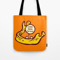 bar Tote Bags featuring Jaw Bar by Artistic Dyslexia