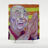 lama Shower Curtains featuring Dalai Lama by Robert E. Richards