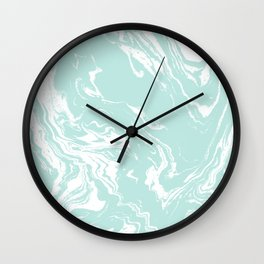 Miya - spilled ink abstract swirl marbled painting marble mint white texture cell phone case Wall Clock