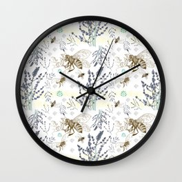 Russian Sage and Bumblebees Wall Clock
