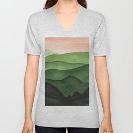 Watercolor layers of mountains Unisex V-Neck