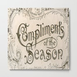 Season's Greetings Shabby Chic French Country Modern Vintage Christmas Typography Metal Print