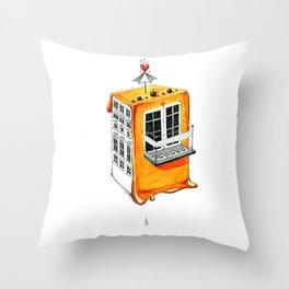 Orange Cookie House Throw Pillow