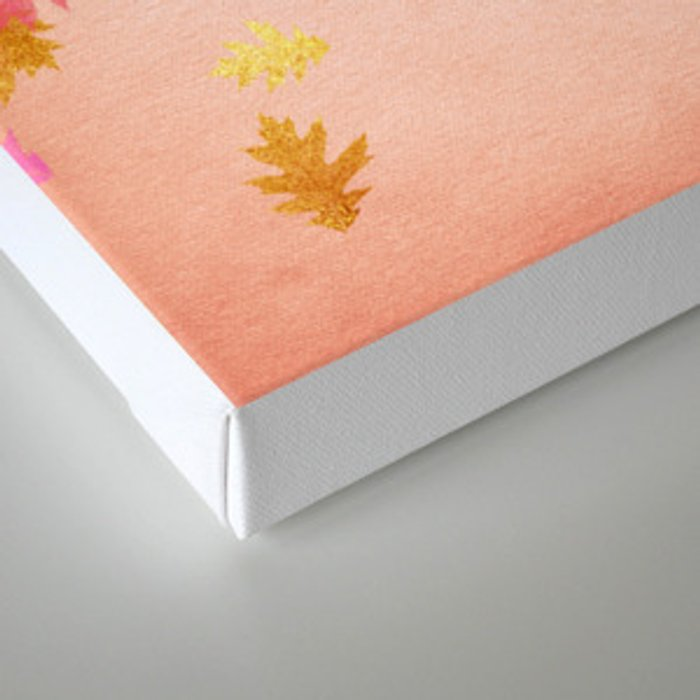 Autumn-world 1 - gold glitter leaves on pink background Canvas Print