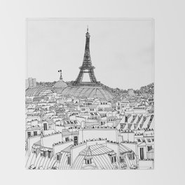 Paris Rooftops Throw Blanket