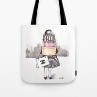 shopping Tote Bags featuring Shopping Junkie by anna hammer