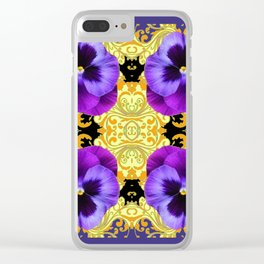 PURPLE PANSIES ON BLACK & GOLD BROCADE GARDEN Clear iPhone Case