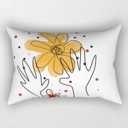 HAND AND FLOWERS Rectangular Pillow