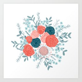 Muted florals on white Art Print