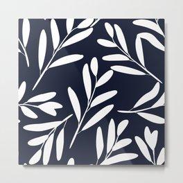 Prints of Leaves, White on Navy Blue, Design Prints Metal Print