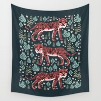safari Wall Tapestries featuring Safari Tiger by Andrea Lauren  by Andrea Lauren Design