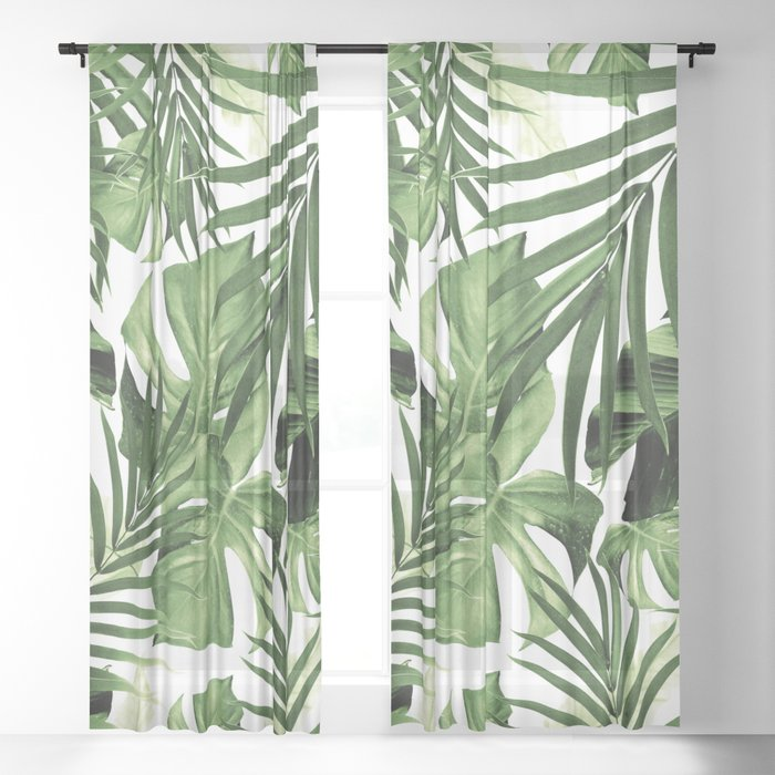 Tropical Jungle Leaves Pattern #12 #tropical #decor #art #society6 Sheer Curtain
