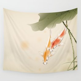 Koi fishes in lotus pond Wall Tapestry