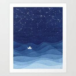 blue ocean waves, sailboat ocean stars Kunstdrucke