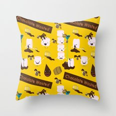 Chocolate Wasted (yellow) Throw Pillow