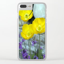 Concrete Flowers Clear iPhone Case