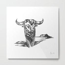 Taurus Surreal Sketch Metal Print