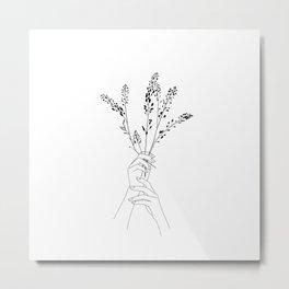 Hands holding wild flowers - Sunday Metal Print