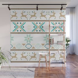 Fair Isle White  #Christmas Wall Mural
