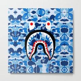 Bape shark camo blue Metal Print
