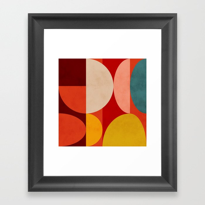 shapes of red mid century art Gerahmter Kunstdruck