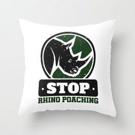 Stop Rhino Poaching Throw Pillow